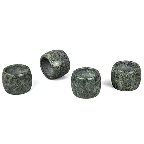 Creative Home Genuine Green Marble Stone Napkin Ring Set (Set of 4), Green