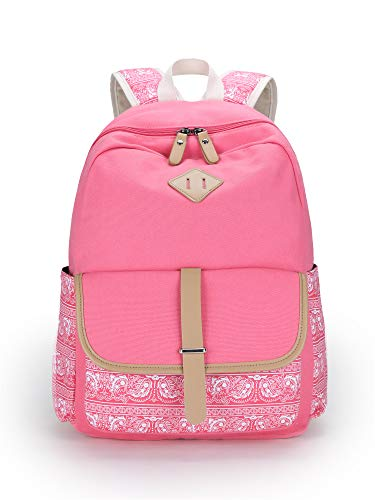 Leaper Cute Canvas Backpack for Girls School Bag Travel Daypack Pink 8812