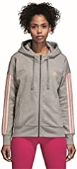 adidas ESS 3S FZ HD Chaqueta, Mujer, Gris (Medium Heather/Haze Coral s17), XS