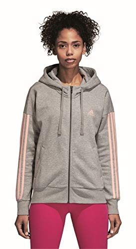 Adidas Damen ESS 3s Fz Hd Sweatshirt, Medium Grey Heather/Haze Coral, M