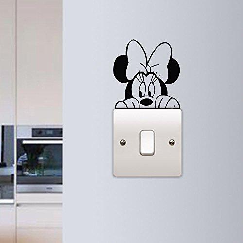 Pegatina de pared de Minnie Mouse, calcomanía de vinilo para colocar sobre el interruptor de luz, divertido para habitación de niños