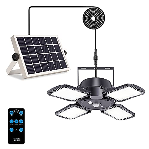 Solar Pendant Lights with Motion Sensor Indoor/Outdoor,3 Lighting Modes with Remote Control 4 Leaf 128 LED 1000LM Solar Powered Shed Lamp Adjustable Panels for Chicken Coop Yard Garage Tent Corridor