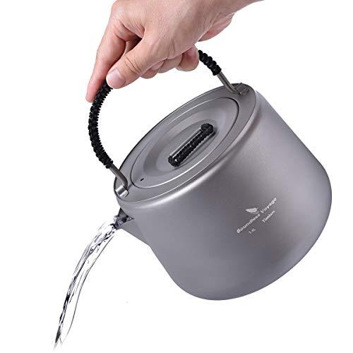 iBasingo 1,4 L Titan Wasserkocher mit Filter Im Freien Camping Kaffee Teekanne Wassertopf Anti-verbrühender Griff Kantine Kessel Geeignet für Induktionsherd Picknick Wandern Heimgebrauch Ti1584I