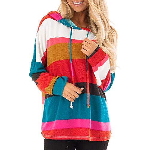 Covermason Femme Automne Tops à Manches Longues Rayé Encapuchonné Sweat-Shirt Sweats à Capuche Chemisiers Hooded Sweatshirt