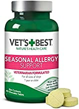 Vet's Best Seasonal Allergy Relief | Dog Allergy Supplement | Relief from Dry or Itchy Skin | 60 Chewable Tablets