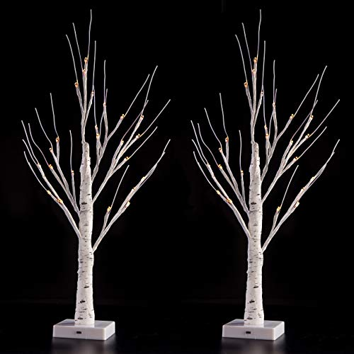 Sunnyglade 2PCS 2Ft 24 LED Birch Tree Light Fairy Tree Bonsai Tree Light Warm White for Home Wedding Festival Party Christmas Decoration
