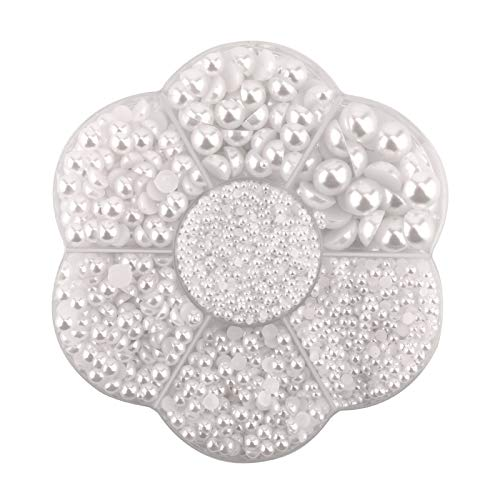 SAVITA 5600Pcs 7 Tamaños Blanco Perlas Perlas Semicirculares Perlas Perlas Sueltas Gemas para Manualidades DIY Decoraciones de Joyería Vestido de Boda Fabricación de Uñas