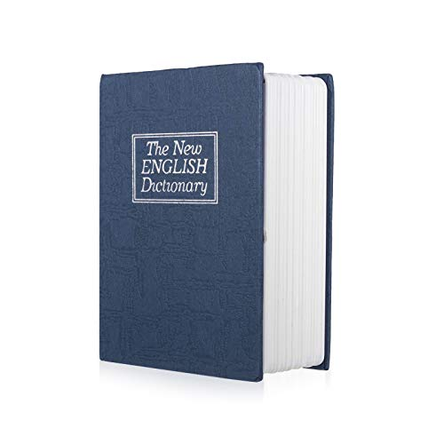 Mousyee Caja Fuerte de Diccionario, Caja de Seguridad en Forma de Libro Caja Fuerte para Libros de Diversión Caja de Almacenamiento Pequeña Adecuada para Cosas Personales (Azul)