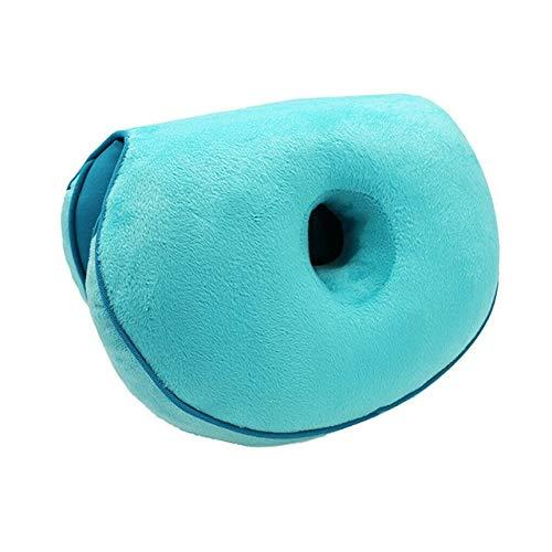 Office Dual Fold Zitkussen Massage Van Heuplift Orthopedisch Kussen Stuitbeen Stoelkussen Auto-Ondersteuning Butt Pad Pluche 45 * 31 * 10 Cm Latex Lake Blue