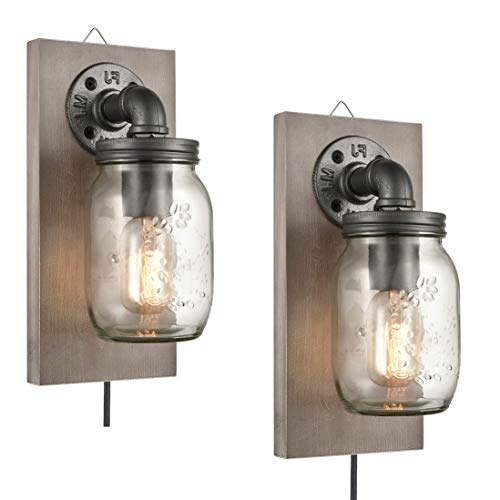 EUL Farmhouse Mason Jar Wall Sconces Hanging Wall Light, Plug-in Set of 2