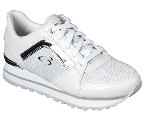 Concept 3 by Skechers Women's Surprise Hit Lace-up Fashion Sneaker, White/Silver, 8 Medium US