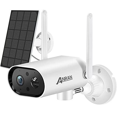 ANRAN Überwachungskamera Akku Aussen mit Solarpanel, 180 Grad Schwenkbare 1080P WLAN IP Kamera mit Handy App-Steuerung, PIR Bewegungsmelder, 2-Wege-Audio, 15M Nachtsicht, Inklusive 32GB Speicherkarte