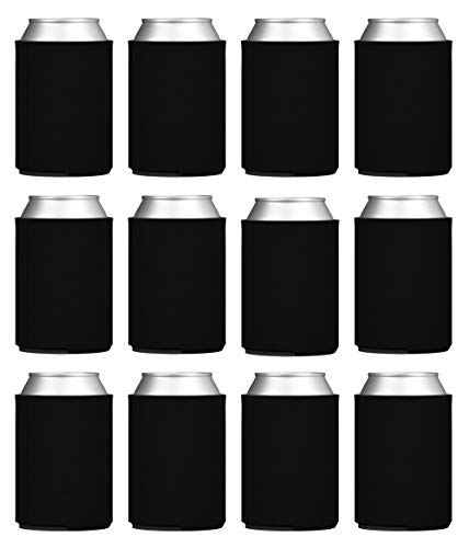 TahoeBay Blank Beer Can Coolers, Plain Bulk Collapsible Soda Cover Coolies, DIY Personalized Sublimation Sleeves for Weddings, Bachelorette Parties, Funny HTV Party Favors (Black, 12)