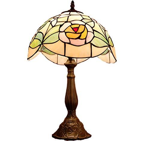 Tafellamp in Tiffany-stijl met glazen kap, 30,5 cm breed, antiek gesneden legering, bureaulamp met knoopschakelaar