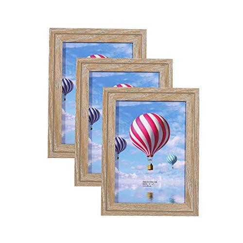 Metrekey 3er Set Bilderrahmen 13x18 cm Vintage Eiche-Optik aus MDF mit Glasfront Deko Fotorahmen für Foto Urkunden wandhängend oder freistehen