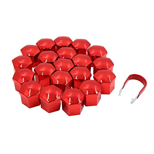 20 tuercas de rueda de 21 mm de color rojo, tapón para neumáticos, buje y tornillos antipolvo.