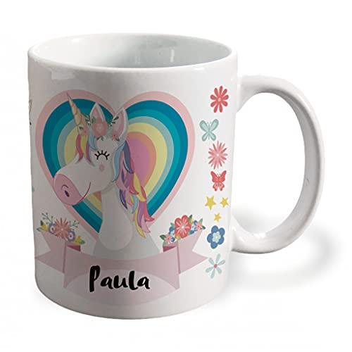 BEE INGENIOUS Taza unicornio personalizada con nombre.Regalos Niños y Niñas Personalizado.Tazas Personalizadas de Cerámica.Tazas unicornio para niñas.