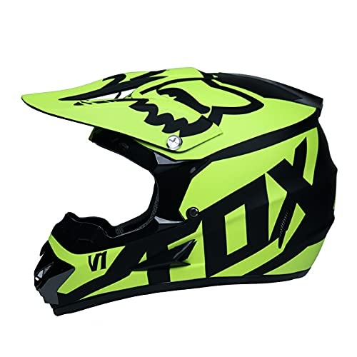 IDWX Casco Todoterreno, Casco PequeñO Todoterreno para Motocicleta, Casco Integral De MontañA Ligero De Carreras, con Parabrisas/Guantes/Protector Facial, Amarillo, S-XL