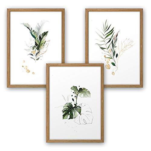 3-teiliges Premium Poster-Set | Kunstdruck | Botanik grün | Blätter | Deko Bild für Ihre Wand | optional mit Rahmen | Wohnzimmer Schlafzimmer Modern Fine Art | DIN A4 / A3 (A4, natur Rahmen)