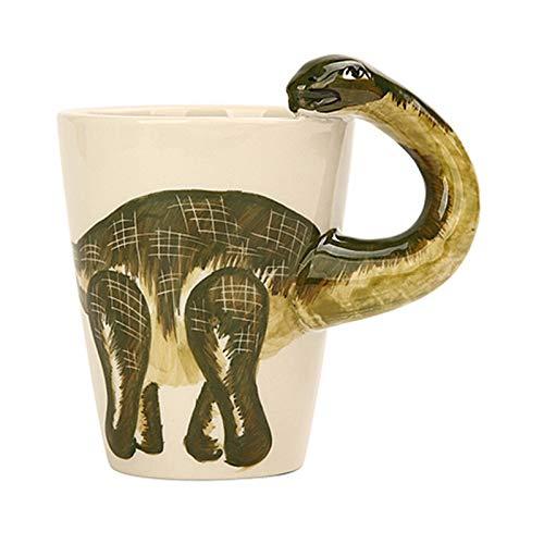 J.AKSO Taza de Dinosaurio Linda 3D Taza de cerámica Creativa Pintada a Mano Taza de té Infantil Taza de café de Moda Regalo novedoso Taza Divertida Taza Personalizar (04)