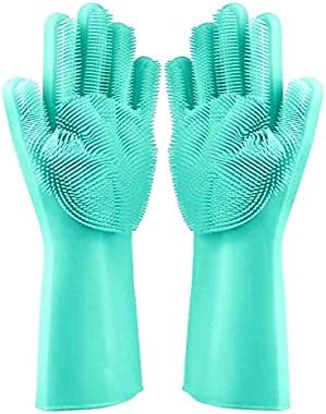 Alciono Magic Silicone gloves for kitchen use washing with Scrubber for Dish ,Kitchen utensil ,Car ,Bathroom floor ,toilet ,s