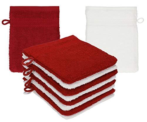 Betz Lot de 10 Gants de Toilette Premium 100% Coton Taille 16x21 cm Rouge Rubis - Blanc