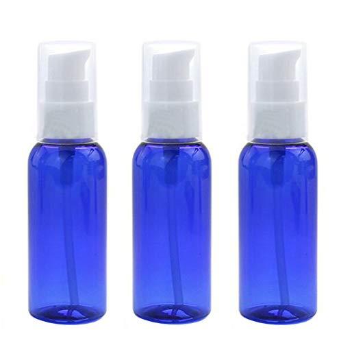 3pcs 50ml 1.7oz vide bouteille de presse bleue en plastique réutilisable avec tête de pompe blanche lotion portable essence lait hydratant pot support de flacon distributeur de produit émulsion