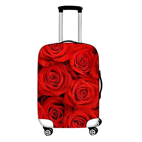 Surwin 3D Cubierta de Equipaje Protectora Suave Elástico Anti-Polvo Lavable Funda de Maleta Luggage Cover con Cremallera Viaje Cubierta de la Caja (Flor romantica,S (18-20 Pulgadas))