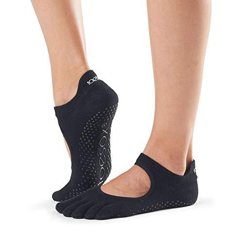 toesox Women's Bellarina Full Toe Grip (Black) Small