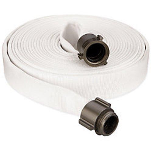 "Key Fire Double Jacket Fire Hose, White, 1-1/2"" ID, 50 feet, 1000 PSI Burst Pressure, M x F NST Aluminum Connectors"