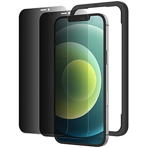 NIMASO 覗き見防止 iPhone12 / iPhone 12 Pro 用 ガラスフィルム 強化ガラス 全面保護フィルム 2枚セット NSP20I122