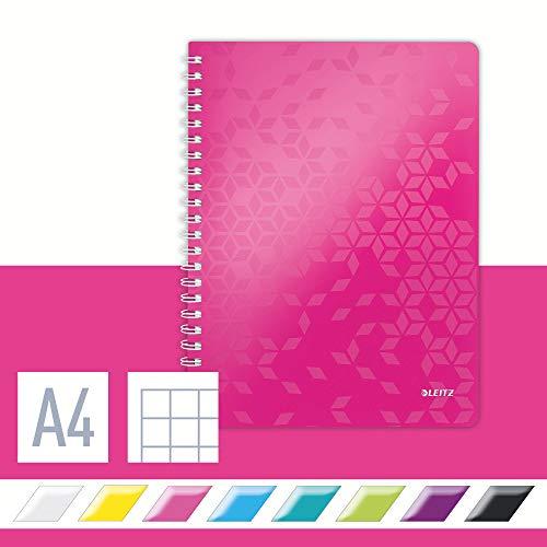 Leitz 46380023 Kollegblock WOW, A4, PP, kariert, holzfrei, 80 Blatt, pink metallic