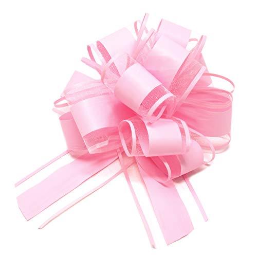 Oblique Unique® Geschenk Schleife mit Geschenkband Matt für Geschenke Tüten Zuckertüten zum Basteln Dekorieren Verzieren - Farbe wählbar (Light Rosa)