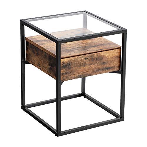 VASAGLE Nachttisch, Beistelltisch, Nachtkommode, Glastisch mit Schublade, Sofatisch, Lounge, Foyer, stabil, Industrie Design, vintagebraun-schwarz LET04BX