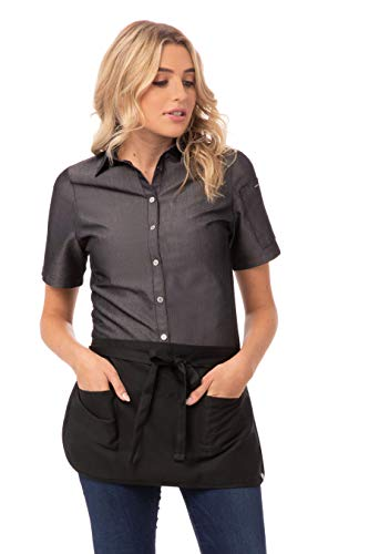 Chef Works unisex adult Waist Apron apparel accessories, Black, One Size US