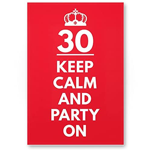 DankeDir! Plaque en plastique « Keep Calm Party on » pour 30 ans - Cadeau d'anniversaire - Idée cadeau d'anniversaire - Décoration de fête - Accessoire de fête - Carte d'anniversaire