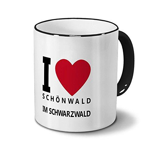 Städtetasse Schönwald im Schwarzwald - Design I Love Schönwald im Schwarzwald, Stadt-Tasse, City-Mug, Kaffeetasse - Becher Schwarz