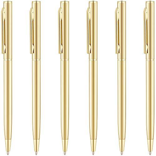 Unibene Slim Metallic Retractable Ballpoint Pens - Gold, Nice Gift for Wedding Business Office Students Teachers Christmas, Medium Point(1 mm) 6 Pack-Black ink