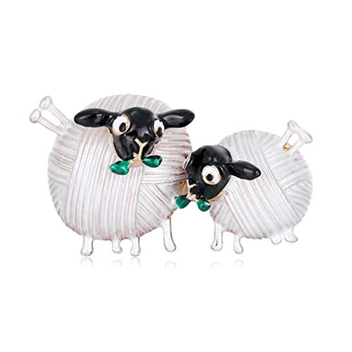 FENGJI Womens Crystal Rhinestone Double Sheep Brooch Pin Party Retro Broach Jewellery White