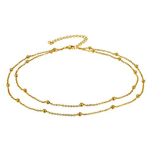 ChainsHouse Abalorios Collar de Oro Chapado Bohemia Collar Corto de Cuello Choker para Mujeres Chicas Bead Necklace for Women Regalo Navidad Cumpleaños día de los Enamorados