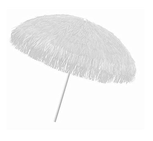 Object, bastschirm, Weiss, 180/200cm, Raffia Bast, Sonnenschirm, Hawaii - Style, 8 Streben + knickgelenk, Sonnenschirm mit Fransen, Bast