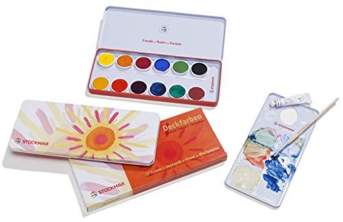 Stockmar Deckfarben - 12 Farben + Deckweiß + Pinsel + Mischpalette