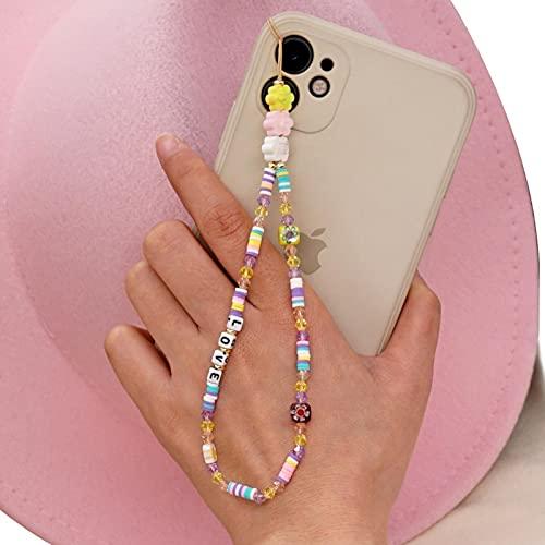 GoodLuck 2021 Cuentas de Flores Bohemias Cerámica Cadena de teléfono móvil Cristal Cadena de teléfono Informal Titular de la joyería