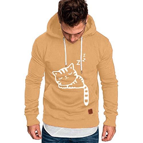 YAYAKI Hoody Sweatshirt Herren Mode Cat Drucken Kapuzenpullover Bequem Freizeit Lange Ärmel Tasche Hoodie Slim Fit Groß Plus Größe Streetwear Basic Style Hoodie Pullover (Khaki,4XL