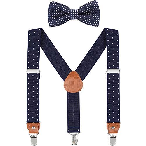WELROG Niños Tirantes Conjuntos de pajarita - Tirantes ajustables en forma de Y con Pajaritas (Azul marino& Puntos blancos+Azul marino Punto de onda corbata de moño, 60cm (7 mois - 3 ans))