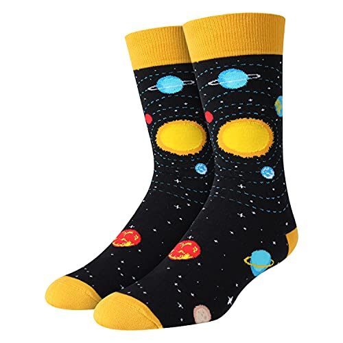 Men's Funny Space Planet Socks in Black, Novelty Gifts for Space Enthusiast