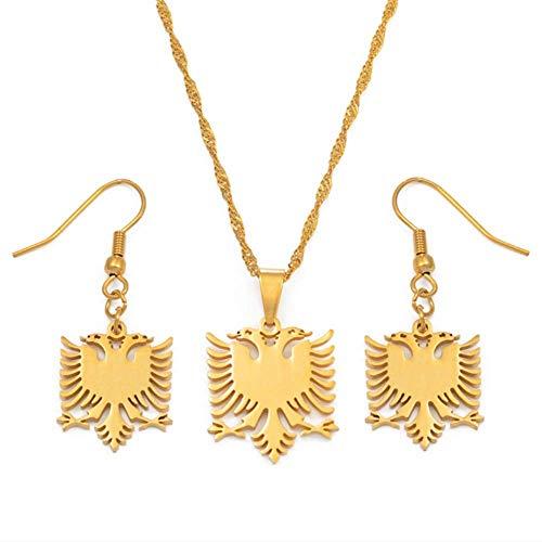 VAWAA Kleine Albanien Adler Halsketten Ohrringe Sets Gold Farbe Edelstahl Schmuck Ethnische Geschenke Für Frauen Mädchen