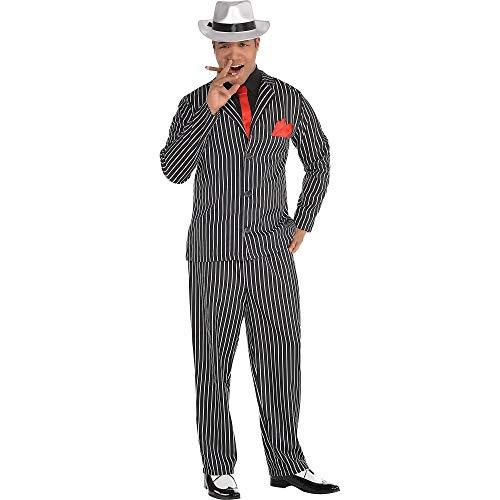 AMSCAN Mob Boss Halloween Costume for Men, Medium, Includes Jacket, Pants, Attached Shirt, Tie, Handkerchief