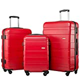 Merax Set of 3 <span class='highlight'>Luggage</span> <span class='highlight'>Lightweight</span> Hard Shell 4 wheel <span class='highlight'>Travel</span> <span class='highlight'>Trolley</span> Suitcase Set Holdall Case-20/24/28 inches (Red)