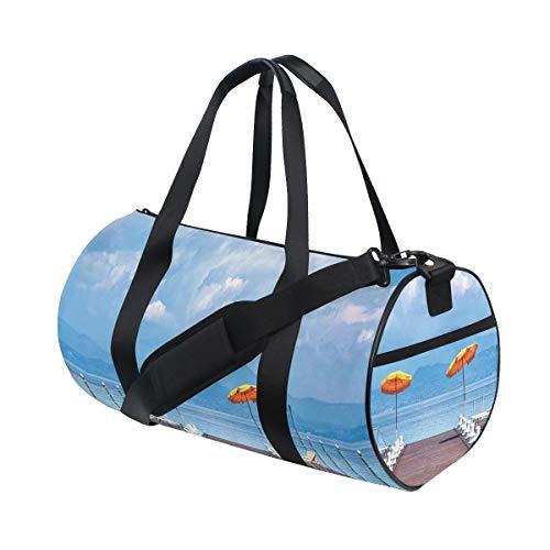 HARXISE Bolsa de Viaje,Sombrillas y Camas Luminosas en un embarcadero en Lake Seascape Scenic,Bolsa de Deporte con Compartimento para Sports Gym Bag